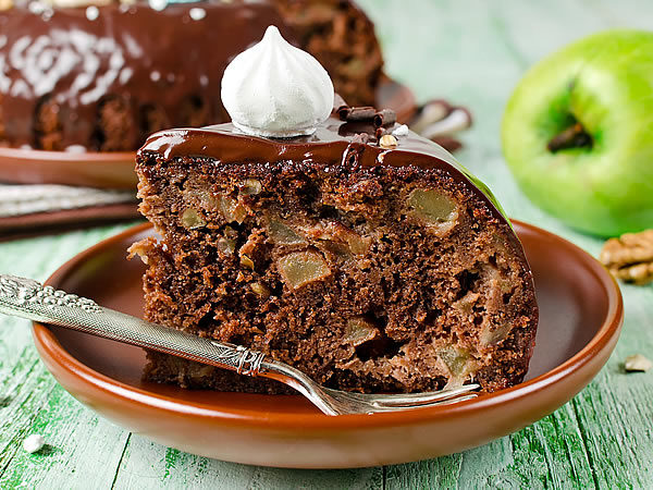 Receta de tarta de manzana y chocolate